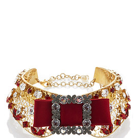 DOLCE & GABBANA - FW2016 Embellished Gold Collar With Red Bow