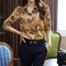 Fashion Floral Print Long-sleeved Women Chiffon Shirt