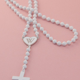 WILDFOX - SET OF WHITE MATTE ROSARIES W/ WF LOGO & CROSS