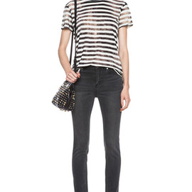 PROENZA SCHOULER - 2014SS Striped Cotton Tee in Black & Ecru
