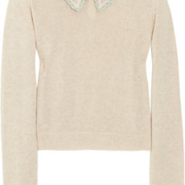 miu miu - Embroidered open-knit cotton sweater