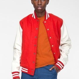 American Apparel - wool club jacket with leather sleeves