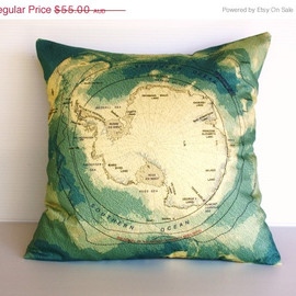 Decorative pillow throw pillow map cushion, Antarctica