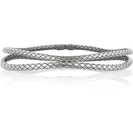 Bottega Veneta - Set of two oxidized sterling silver bracelets