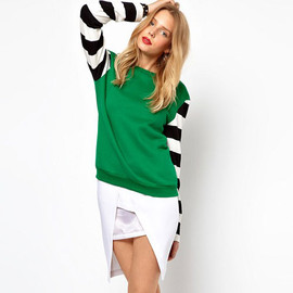 Retro Simple Stripe Print Mixing Color Sweatshirt