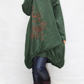 dress - Women autumn dress/ loose linen dress/ blouse shirt In dark green