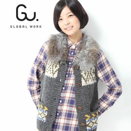 GLOBAL WORK - ウールFファーツキベスト