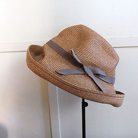 mature ha. - BOXED HAT 11cm brim grosgrain ribbon(グレー)