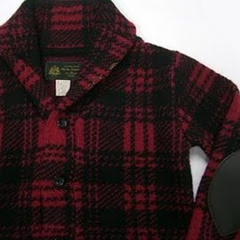 OLD JOE & Co. - SHAWL COLLAR KNIT (DARK RED CHECK)