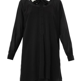 SAINT LAURENT - Silk ruffle collar shirt dress