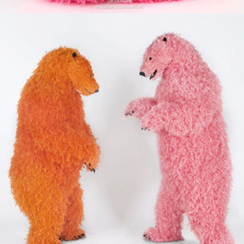 paola pivi - colourfully feathered bears inhabit galerie perrotin New York