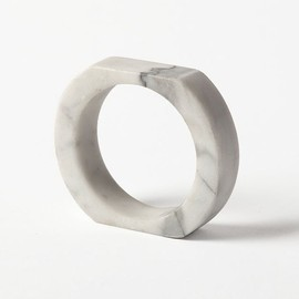 Chen Chen & Kai Williams - Stone Age White Carrera Marble Bangle Bracelet
