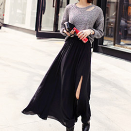 Dholic - Side Cut Chiffon Long Skirt
