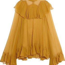 Chloé - Ruffled silk-crepon turtleneck blouse