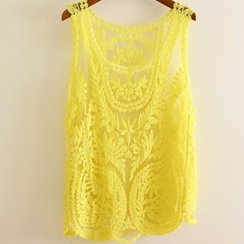 Semi Sheer See Through Sleeve Embroidery Floral Lace Crochet Tank
