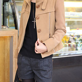 Solid Color Single Breast Zipper Stylish Stand Collar Short Slim Coat