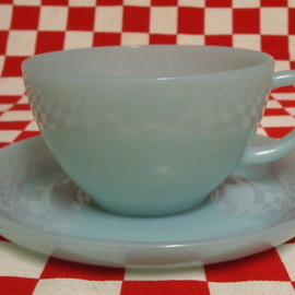 Jadeite Magic Gallery - FIRE KING Turquoise Blue Cup & Saucer #15