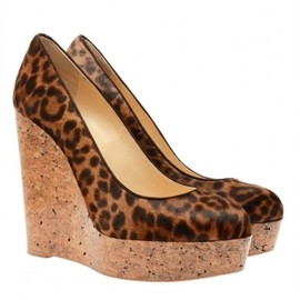 Christian Louboutin -  Coroclic' calf hair and cork platform wedges