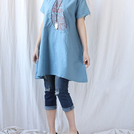 summer Women linen Loose Fitting Linen Long Shirt