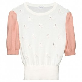 miu miu - 【'12Resort】Miu Miu TWO-TONE COTTON CROPPED SWEATER in BUTTER WHITE + PEACH 1