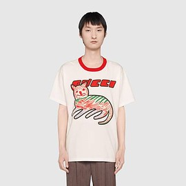 GUCCI - White Gucci cat print oversize T-shirt | GUCCI® BE