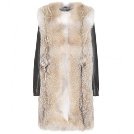 SAINT LAURENT - Fur coat with leather sleeves