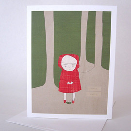 Luulla - Recycled paper blank greeting card Blank note card with envelope Girl in red hood watching small plant grow in the woods Have Faith
