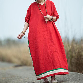 Floor Length dress - Linen dress Long, Red dress, Maxi dress, Floor Length dress