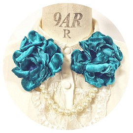 miaulement - fabric flower brooch with pearl
