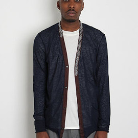 kolor - EMBROIDERED NECK FINE LINEN CARDIGAN