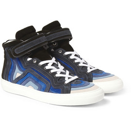 PIERRE HARDY - Striped Suede High Top Sneakers