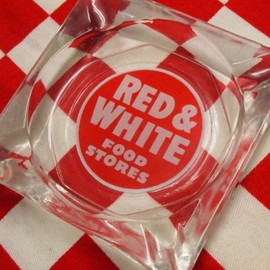 Fire King - / Anchor Hocking Red & White Food Stores Ashtray