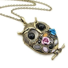 alanatt - Texture Long Version Owl Style Necklace