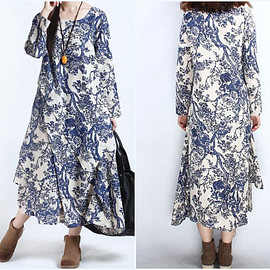 Maxi Dress - womens loose fitting Cotton and linen Maxi Dress Women Robe gown