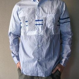 BLACK&BLUE - PATCHWORK×TAPE SHIRT