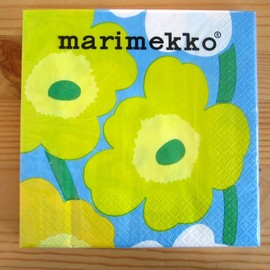 marimekko - unikko yellow/light blue paper napkins