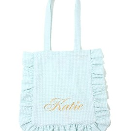 Katie - katie(ケイティ)のFRILL GINGHAM logo tote(トートバッグ)|ミント