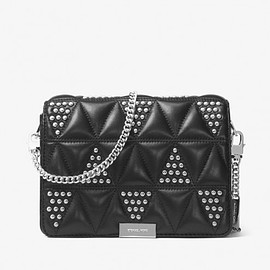 MICHAEL KORS - MICHAEL Michael Kors Jade Studded Quilted-Leather Clutch Black/Silver