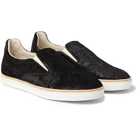 Maison Martin Margiela -  Embossed Velvet Slip-On Sneakers