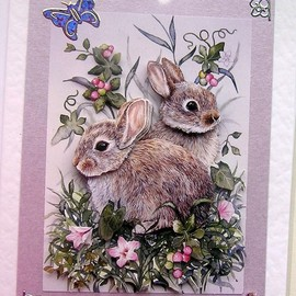 Luulla - Spring Rabbit Hand-Crafted Card - Best Wishes