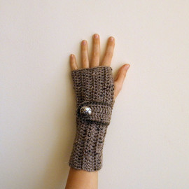 Fingerless Gloves Wrist Warmers Arm warmers Mittens textured taupe brown coffee nougat cyber monday