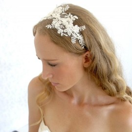 Luulla - Lace headpiece - Bridal Ivory beaded lace with pearls wedding headband