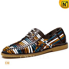 CWMALLS - CWMALLS® Lace-up Woven Leather Loafers CW716405