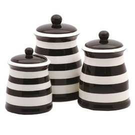 Terramoto Ceramic - black 3pc canister set