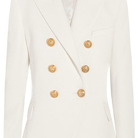 Balmain - Double-breasted basketweave cotton blazer