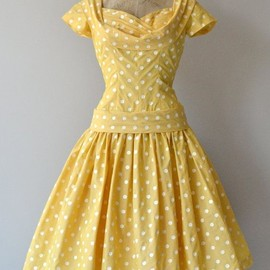 Cheerful Charmer dress 1950s polka dot dress by DearGolden