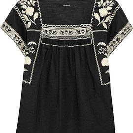 Madewell - Wildfield embroidered linen and cotton-blend top