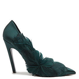 BALENCIAGA - Feather-embellished satin pumps