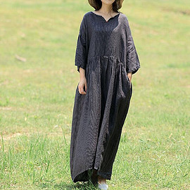 linen Maxi dress - Large size linen Maxi dress in dark grey, Long linen dress, summer dress in light grey