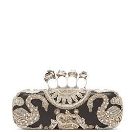 Alexander McQueen - Knuckle bead-embellished leather clutch